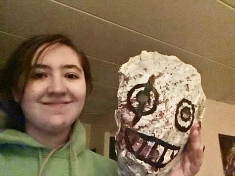 Image of me holding the finished cosplay mask.